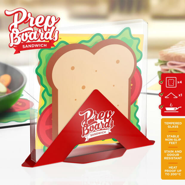 Planches à Découper Sandwich avec Support (x4) Packaging