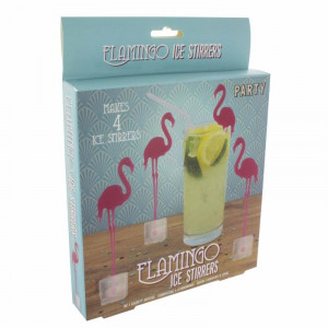 Mélangeurs Glaçons Flamants Roses (x4) flamingo ice stirrers