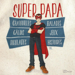 Tablier Super Papa dessin
