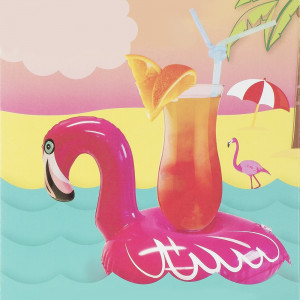 Flamant Rose Porte-Cocktail Gonflable