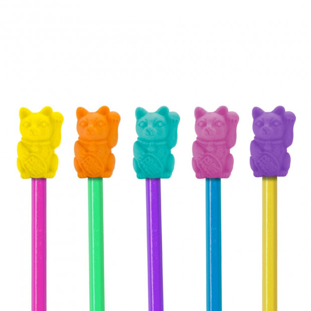 Gommes Lucky Cat (x12) Bouts de Crayons
