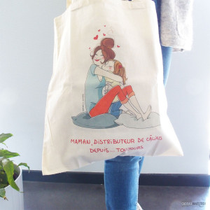 Tote Bag Ma Maman Distributeur de Calins toile