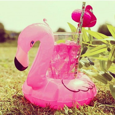 Flamant Rose Porte-Boissons Gonflable