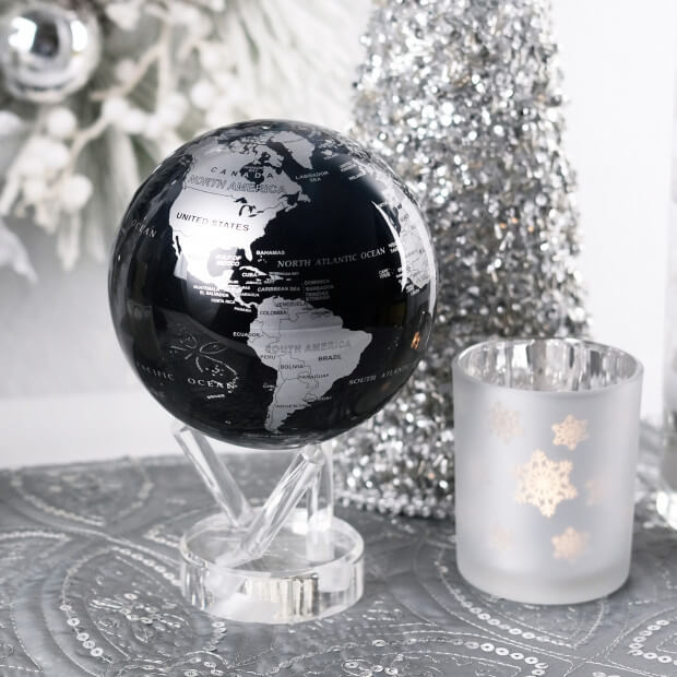 globe mova noir et argent cadeau maestro. Black Bedroom Furniture Sets. Home Design Ideas