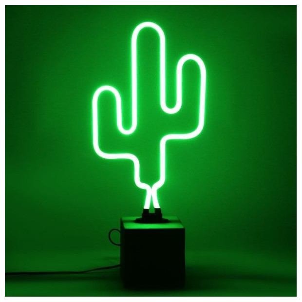Neon Cactus Socle Ciment