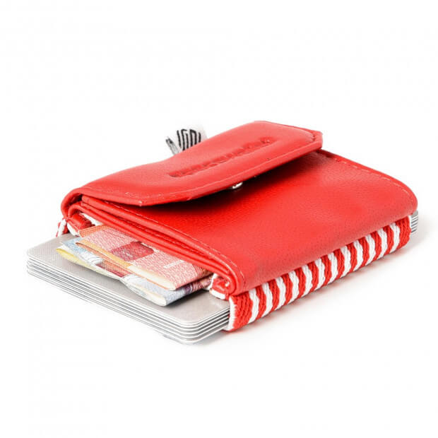 Mini Portefeuille Cuir Space Wallet Push Rouge