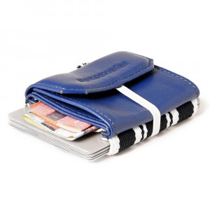 Mini Portefeuille Cuir Space Wallet Pull Bleu