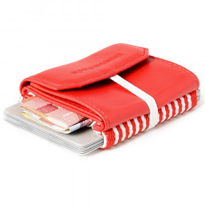 Mini Portefeuille Cuir Space Wallet Pull Rouge