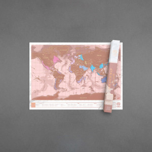Carte du Monde à Gratter Or Rose
