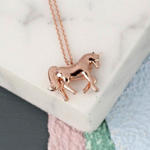 Collier Plaqué Or Rose Licorne