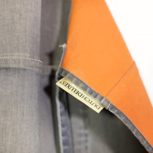 Tablier en Jean Gris et Orange Réversible