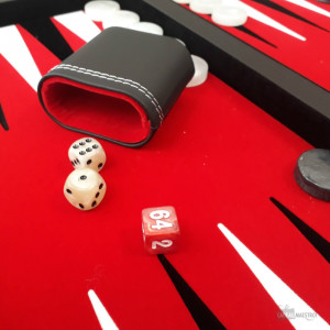 Backgammon Deluxe Mallette Similicuir Godets et Dés