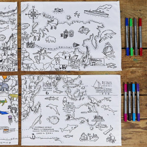 Sets de Table Carte du Monde à Colorier (x4)