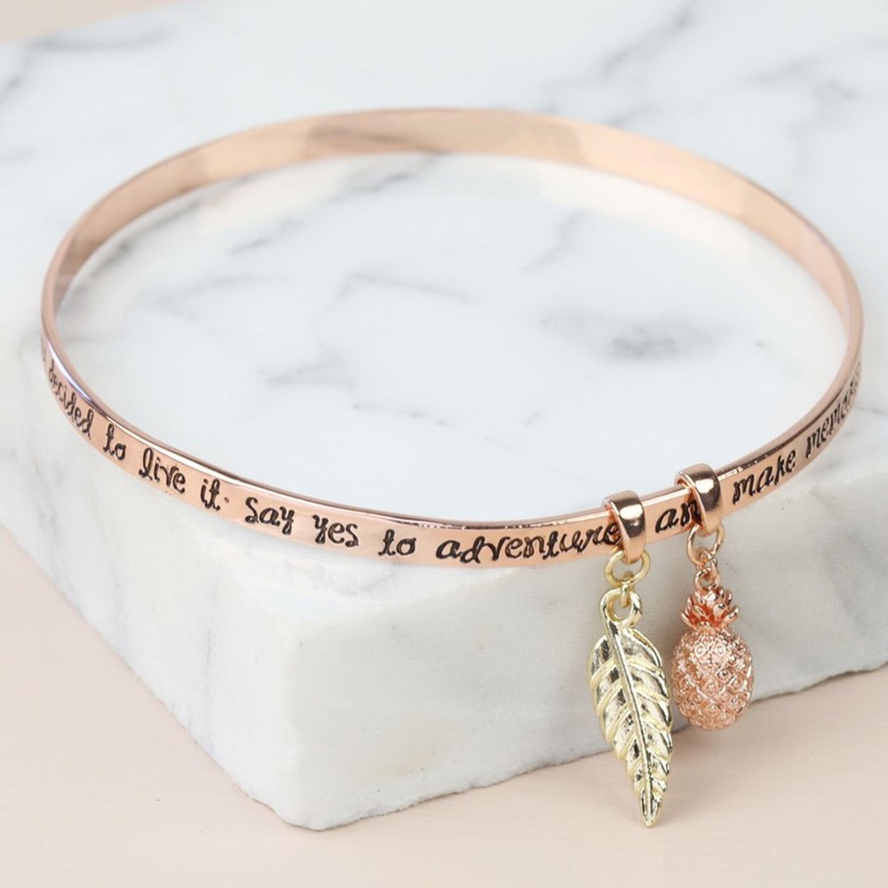 """Bracelet Plaqué Or Rose """"Say Yes to Adventure"""""""