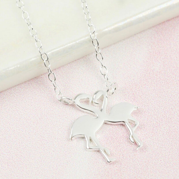 Collier Argent Flamants Roses