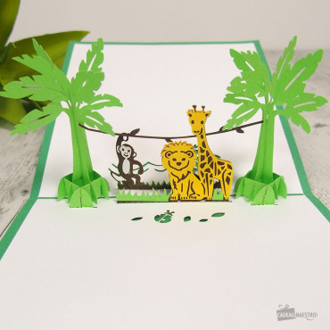 Carte Pop-Up 3D Animaux de la Jungle