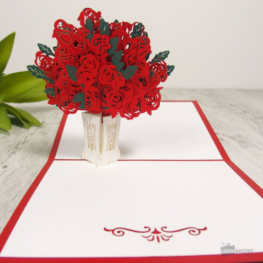 Carte Pop-Up 3D Bouquet de Roses