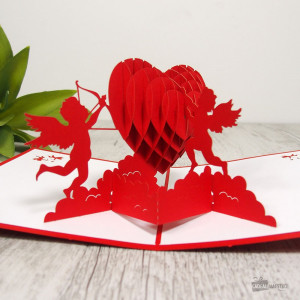 Carte Pop-Up 3D Cœur et Cupidons