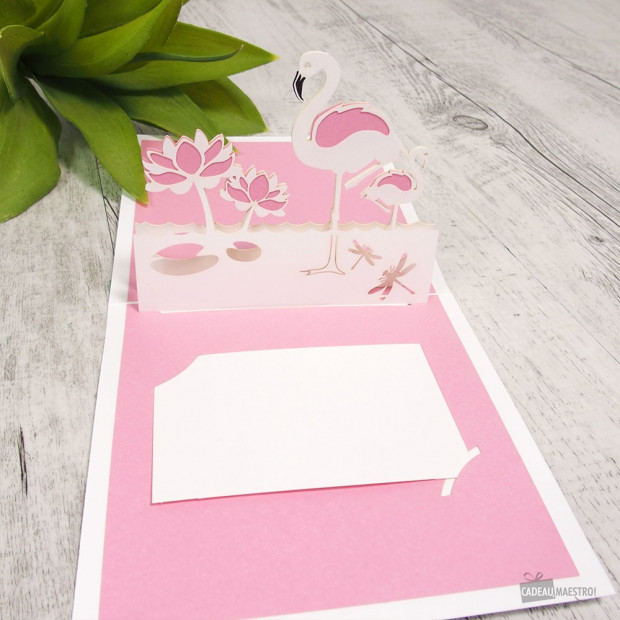 Carte Pop-Up 3D Flamant Rose