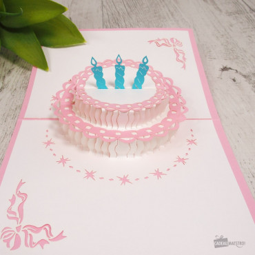Carte Pop-Up 3D Gâteau d'Anniversaire Rose
