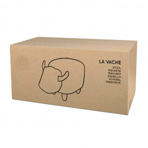 Tabouret Vache en Simili-Cuir Marron Packaging