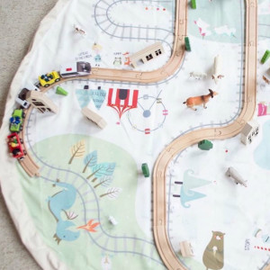 Sac Tapis de Jeu Play and Go Petit Train Circuit et Rails
