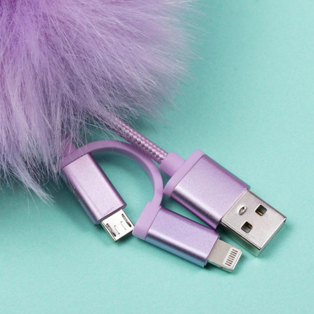Pompon Câble USB Universel Pusheen Micro USB Android et iLightning iPhone