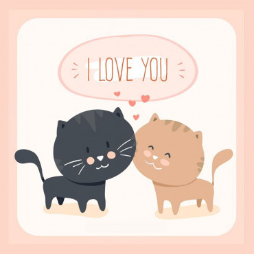 "Sticker et Carte Pam's ""I Love You"" Chatons"
