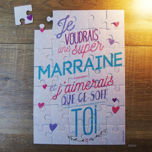 "Puzzle Surprise ""Je voudrais une Super Marraine"""