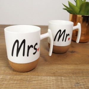 "Coffret Mugs Anti-Marques ""Mr & Mrs"" (x2)"