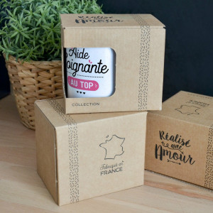 "Mug ""Aide Soignante Au Top"" Packaging"
