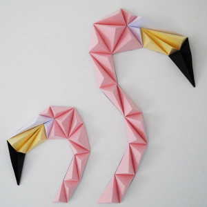 Flamants Roses 3D 28 x 25 cm (x2)
