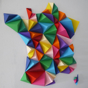 France 3D Multicolore 42 x 42 cm