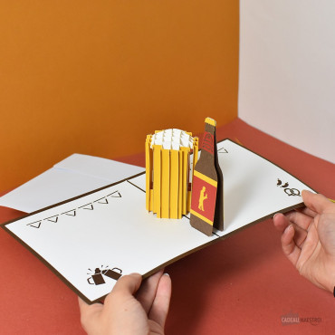 Carte Pop-Up 3D Bière