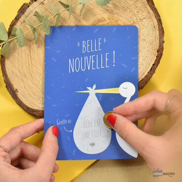Carte à Gratter Surprise Naissance Fille