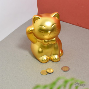 Tirelire Lucky Cat Dorée