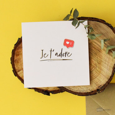 "Carte Double ""Je t'adore"" écriture manuscrite"