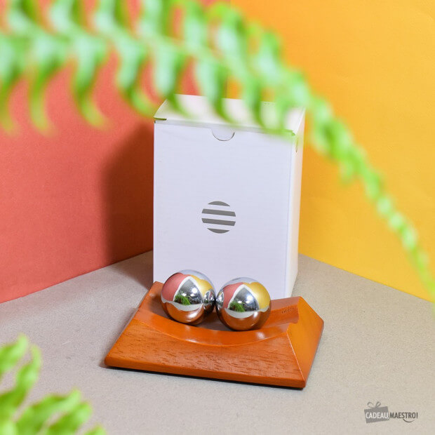 Boules Anti-Stress avec Support Bois  Packaging