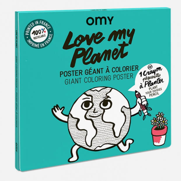 "Poster Géant à Colorier ""Love My Planet"" Avec Crayon à Planter Packaging"