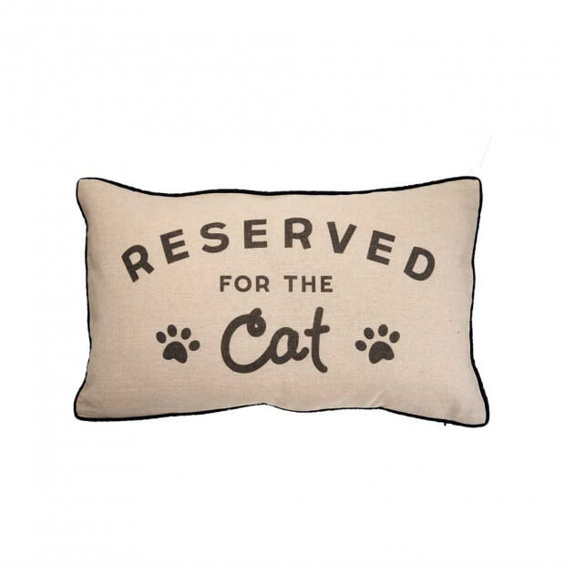 "Coussin ""Reserved For The Cat"" Inscription avec dessins sur la face du coussin"